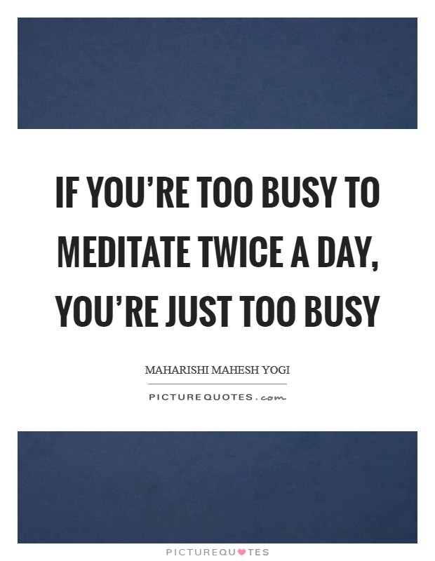 If you're too busy to meditate twice a day, you're just too busy Picture Quote #1