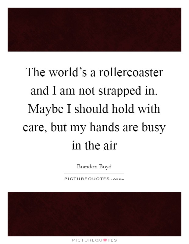 The world's a rollercoaster and I am not strapped in. Maybe I should hold with care, but my hands are busy in the air Picture Quote #1
