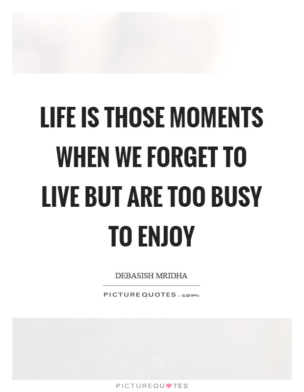 Life is those moments when we forget to live but are too busy to enjoy Picture Quote #1