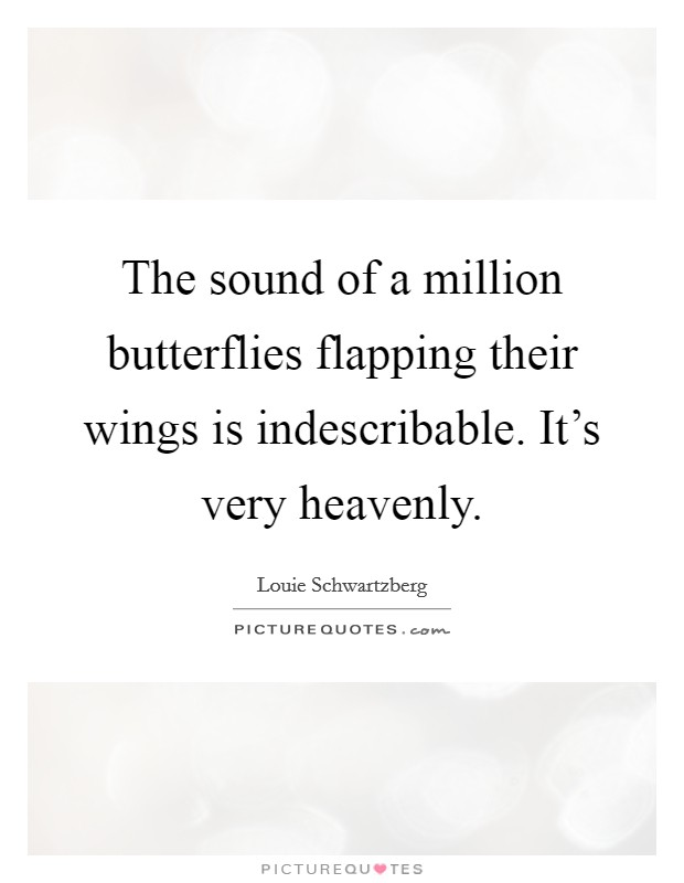 The sound of a million butterflies flapping their wings is indescribable. It's very heavenly. Picture Quote #1