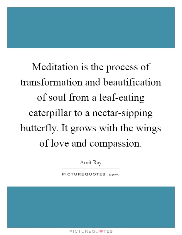 Meditation is the process of transformation and beautification of soul from a leaf-eating caterpillar to a nectar-sipping butterfly. It grows with the wings of love and compassion Picture Quote #1
