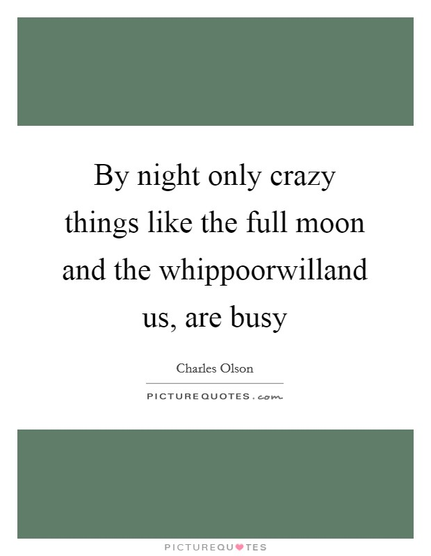 By night only crazy things like the full moon and the whippoorwilland us, are busy Picture Quote #1