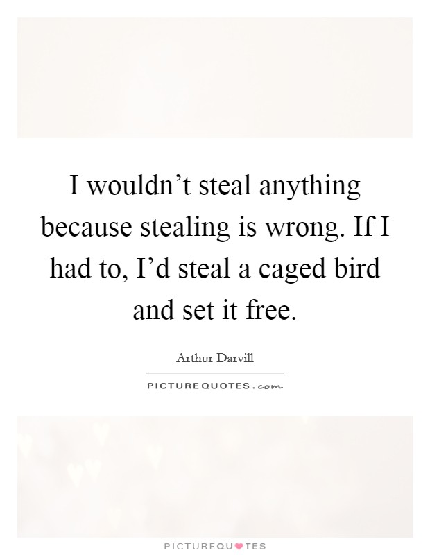 I wouldn't steal anything because stealing is wrong. If I had to, I'd steal a caged bird and set it free Picture Quote #1