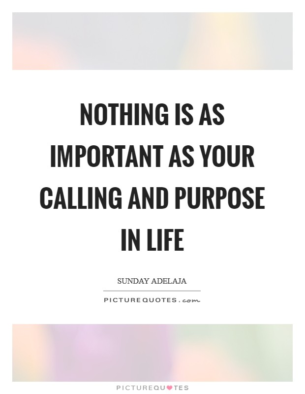 Nothing is as important as your calling and purpose in life Picture Quote #1