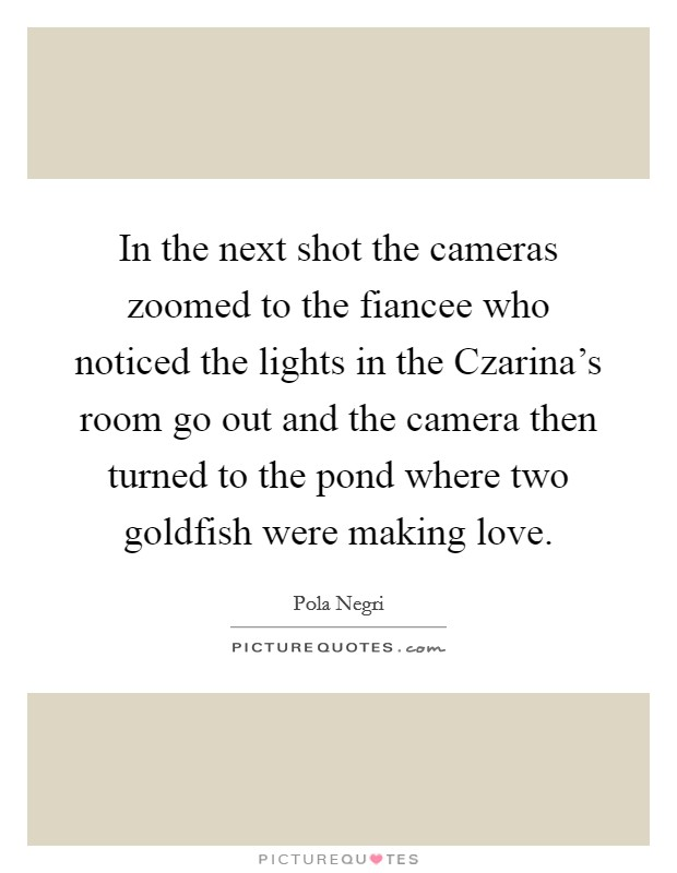 In the next shot the cameras zoomed to the fiancee who noticed the lights in the Czarina's room go out and the camera then turned to the pond where two goldfish were making love Picture Quote #1