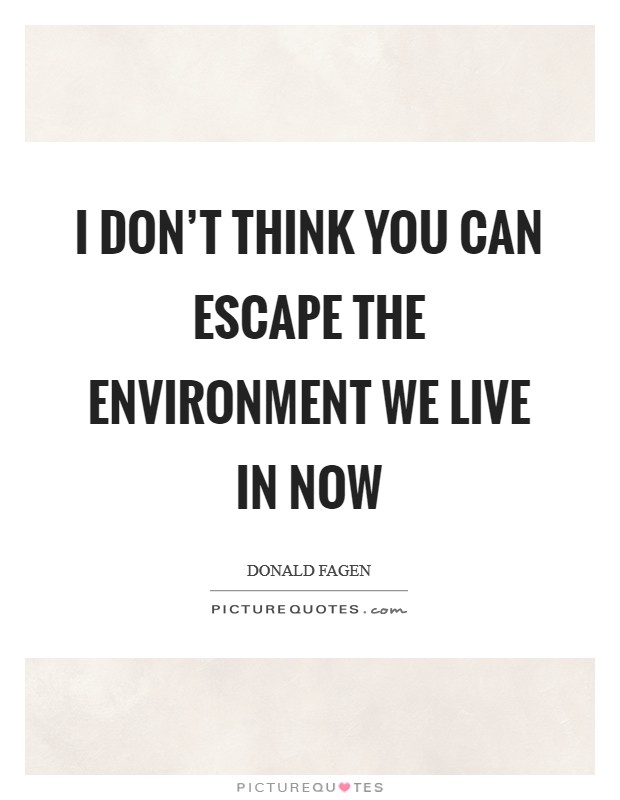 I don't think you can escape the environment we live in now Picture Quote #1