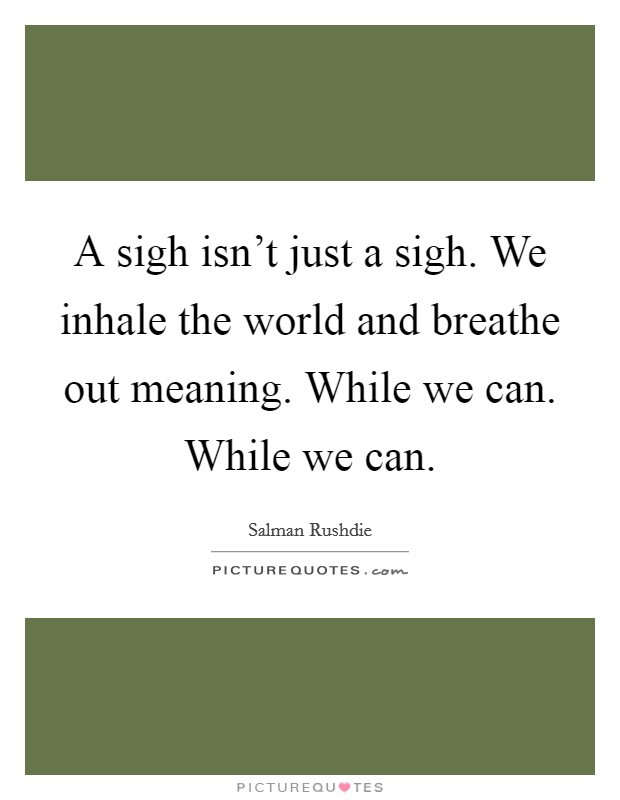 A sigh isn't just a sigh. We inhale the world and breathe out meaning. While we can. While we can Picture Quote #1