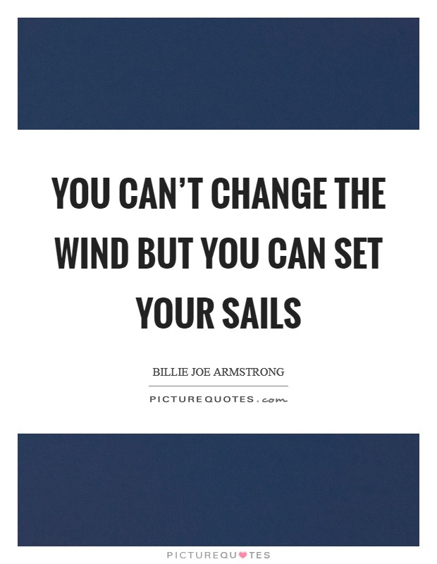 You can't change the wind but you can set your sails Picture Quote #1