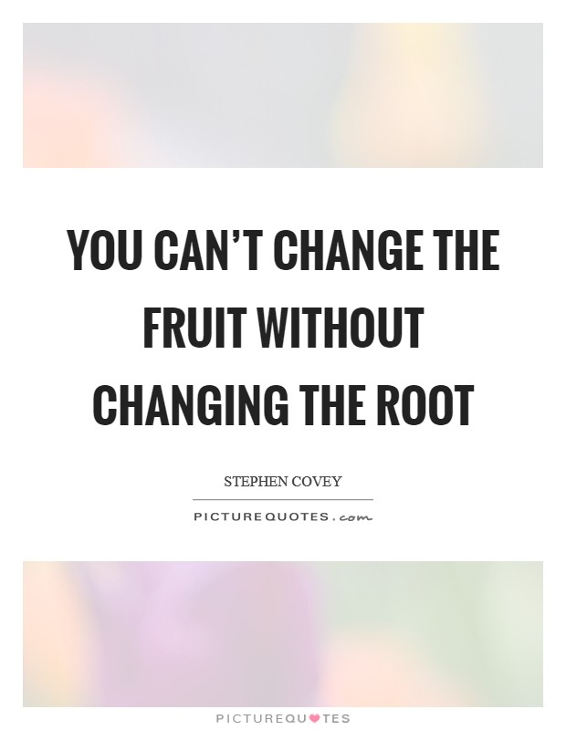 You can't change the fruit without changing the root Picture Quote #1