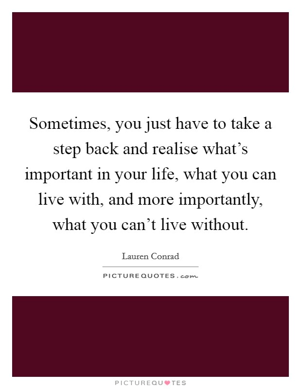 Sometimes, you just have to take a step back and realise what's important in your life, what you can live with, and more importantly, what you can't live without Picture Quote #1