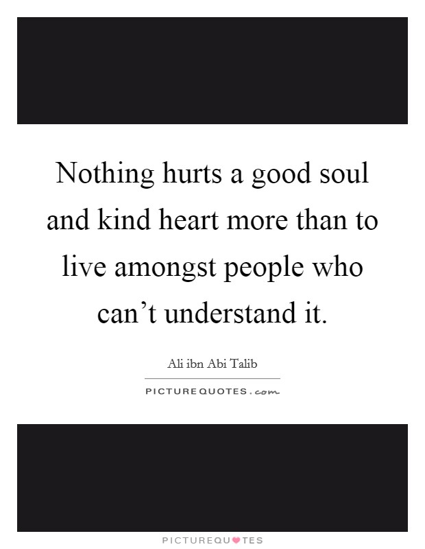 Nothing hurts a good soul and kind heart more than to live amongst people who can't understand it Picture Quote #1