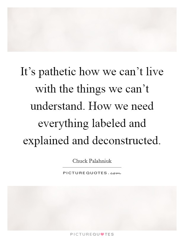 It's pathetic how we can't live with the things we can't understand. How we need everything labeled and explained and deconstructed Picture Quote #1