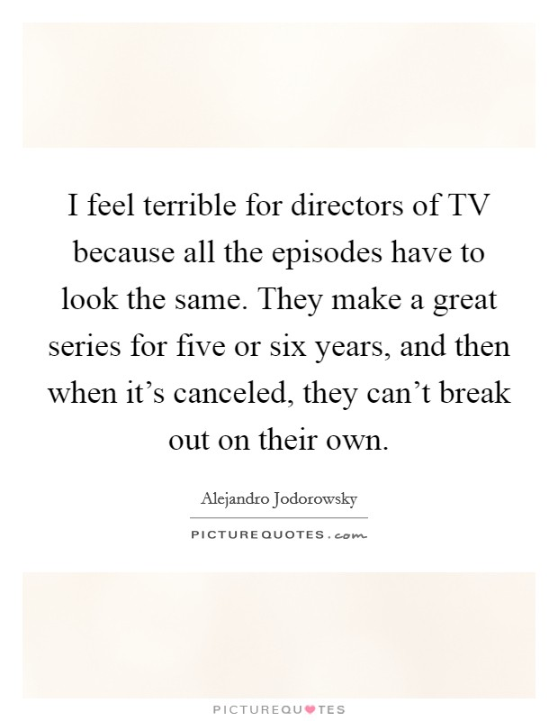 I feel terrible for directors of TV because all the episodes have to look the same. They make a great series for five or six years, and then when it's canceled, they can't break out on their own Picture Quote #1