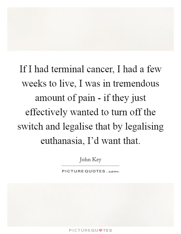 If I had terminal cancer, I had a few weeks to live, I was in tremendous amount of pain - if they just effectively wanted to turn off the switch and legalise that by legalising euthanasia, I'd want that Picture Quote #1