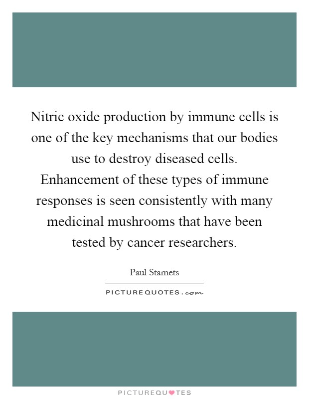 Nitric oxide production by immune cells is one of the key mechanisms that our bodies use to destroy diseased cells. Enhancement of these types of immune responses is seen consistently with many medicinal mushrooms that have been tested by cancer researchers Picture Quote #1