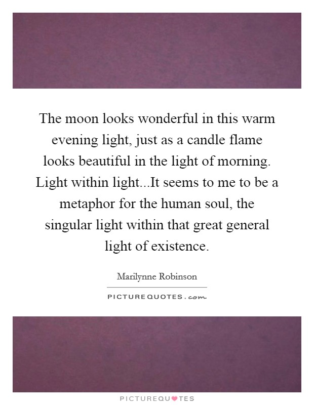 The moon looks wonderful in this warm evening light, just as a candle flame looks beautiful in the light of morning. Light within light...It seems to me to be a metaphor for the human soul, the singular light within that great general light of existence Picture Quote #1