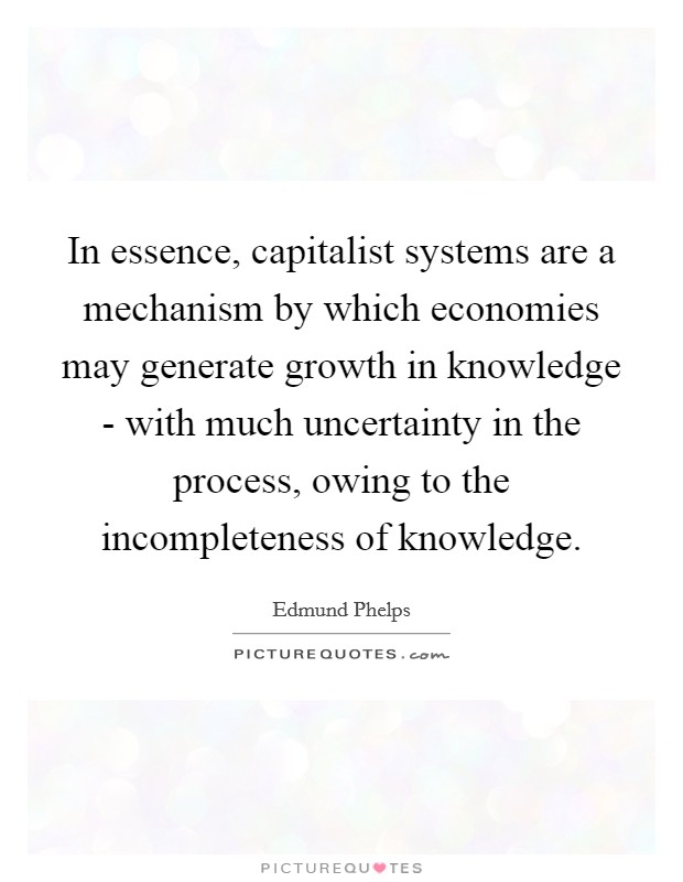 In essence, capitalist systems are a mechanism by which economies may generate growth in knowledge - with much uncertainty in the process, owing to the incompleteness of knowledge Picture Quote #1
