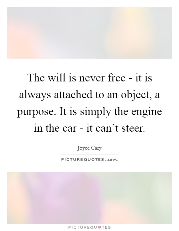 The will is never free - it is always attached to an object, a purpose. It is simply the engine in the car - it can't steer Picture Quote #1