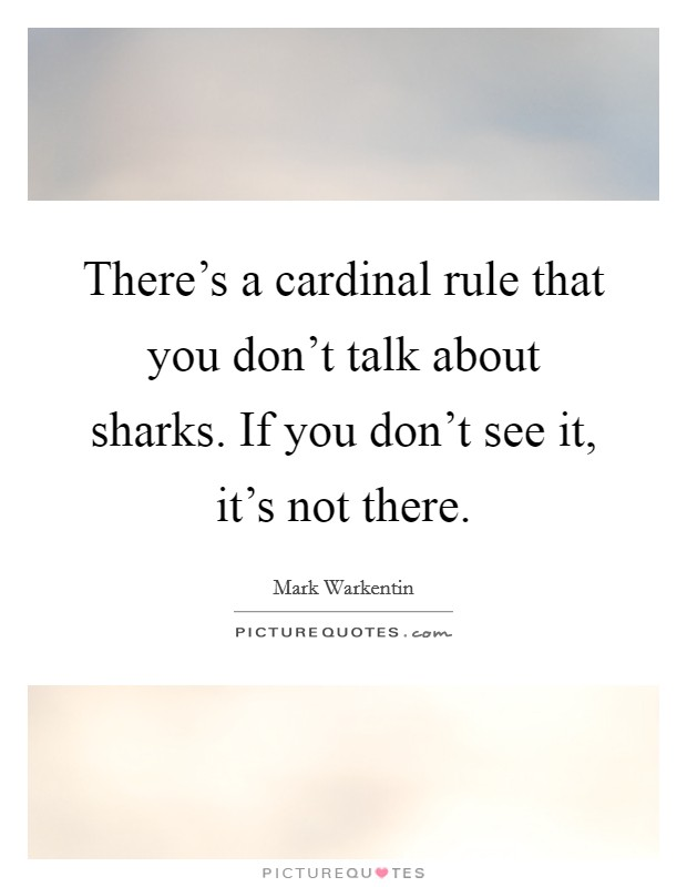 There's a cardinal rule that you don't talk about sharks. If you don't see it, it's not there Picture Quote #1