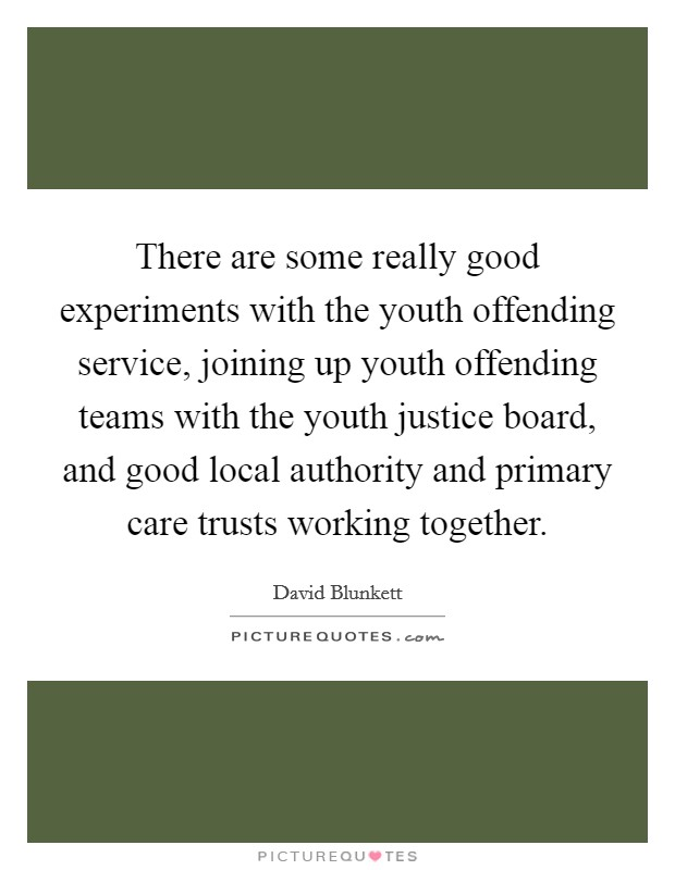 There are some really good experiments with the youth offending service, joining up youth offending teams with the youth justice board, and good local authority and primary care trusts working together Picture Quote #1