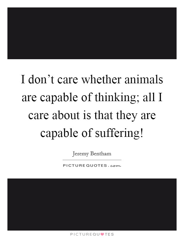 I don't care whether animals are capable of thinking; all I care about is that they are capable of suffering! Picture Quote #1