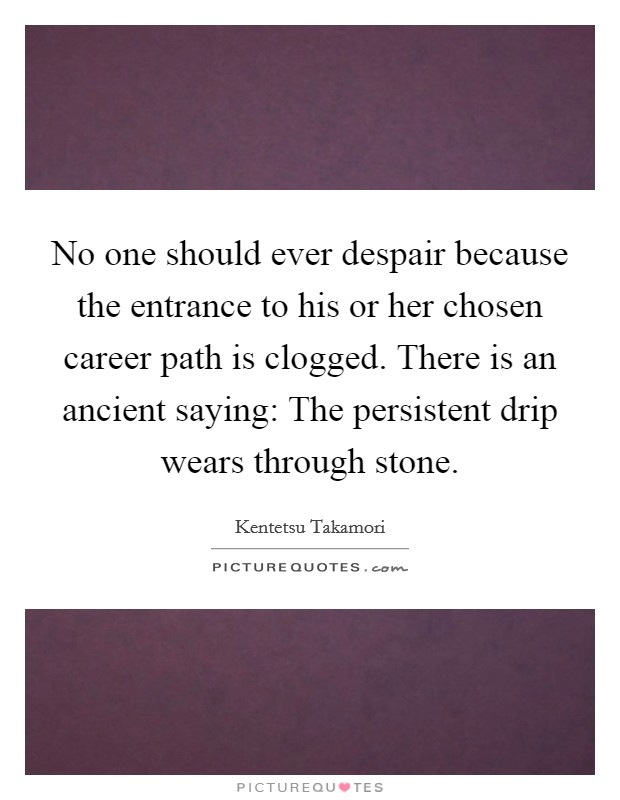 No one should ever despair because the entrance to his or her chosen career path is clogged. There is an ancient saying: The persistent drip wears through stone Picture Quote #1