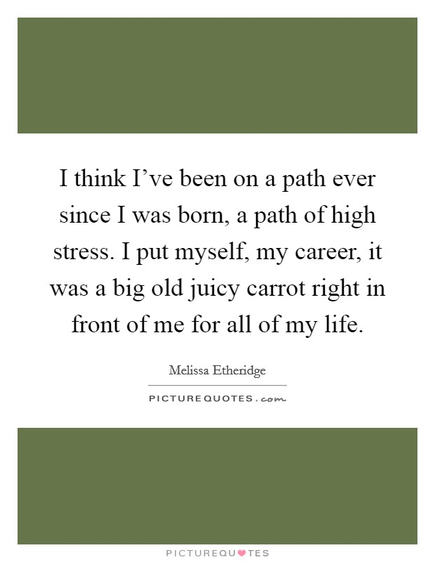 I think I've been on a path ever since I was born, a path of high stress. I put myself, my career, it was a big old juicy carrot right in front of me for all of my life Picture Quote #1
