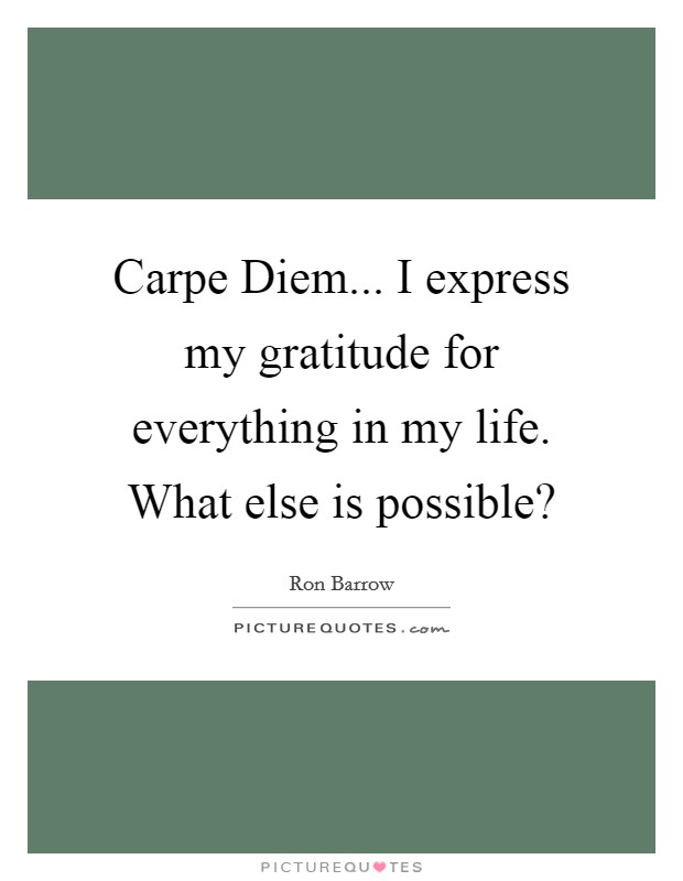 Carpe Diem... I express my gratitude for everything in my life. What else is possible? Picture Quote #1