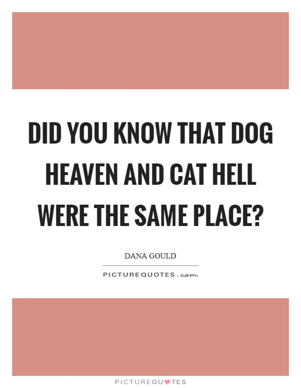 Did you know that Dog Heaven and Cat Hell were the same place? Picture Quote #1