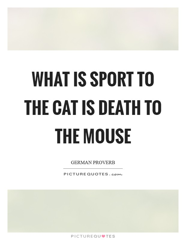 What is sport to the cat is death to the mouse Picture Quote #1
