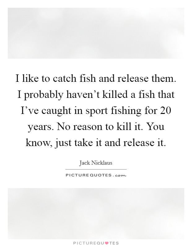 I like to catch fish and release them. I probably haven't killed a fish that I've caught in sport fishing for 20 years. No reason to kill it. You know, just take it and release it Picture Quote #1