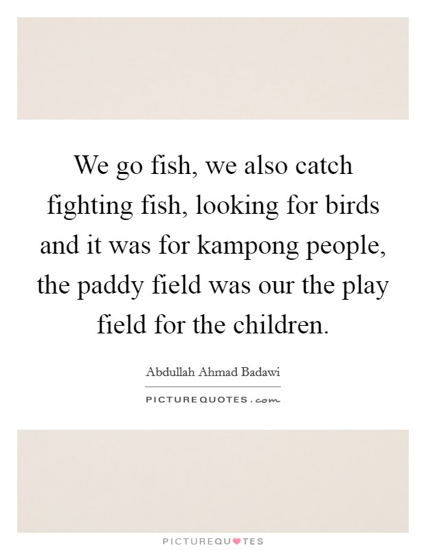We go fish, we also catch fighting fish, looking for birds and it was for kampong people, the paddy field was our the play field for the children Picture Quote #1