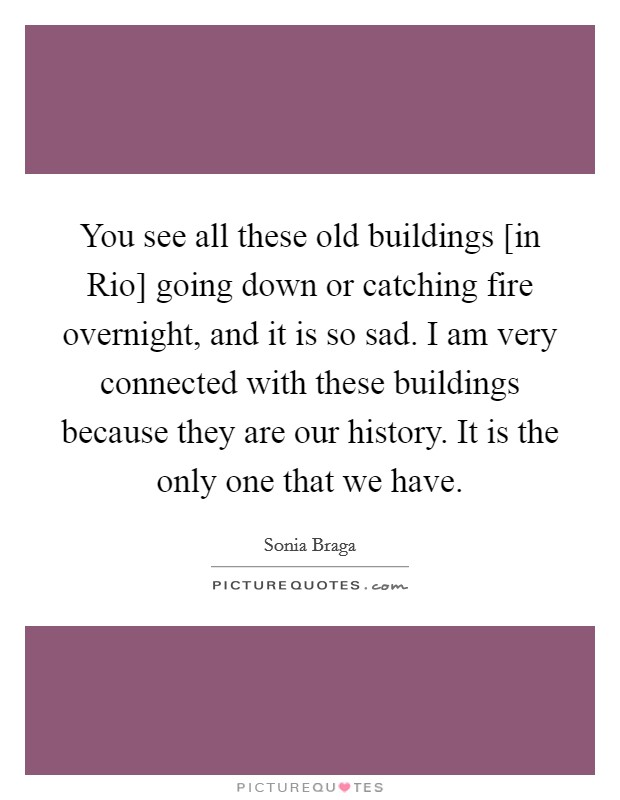 You see all these old buildings [in Rio] going down or catching fire overnight, and it is so sad. I am very connected with these buildings because they are our history. It is the only one that we have Picture Quote #1