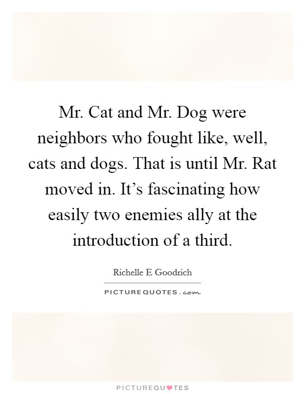 Mr. Cat and Mr. Dog were neighbors who fought like, well, cats and dogs. That is until Mr. Rat moved in. It's fascinating how easily two enemies ally at the introduction of a third. Picture Quote #1