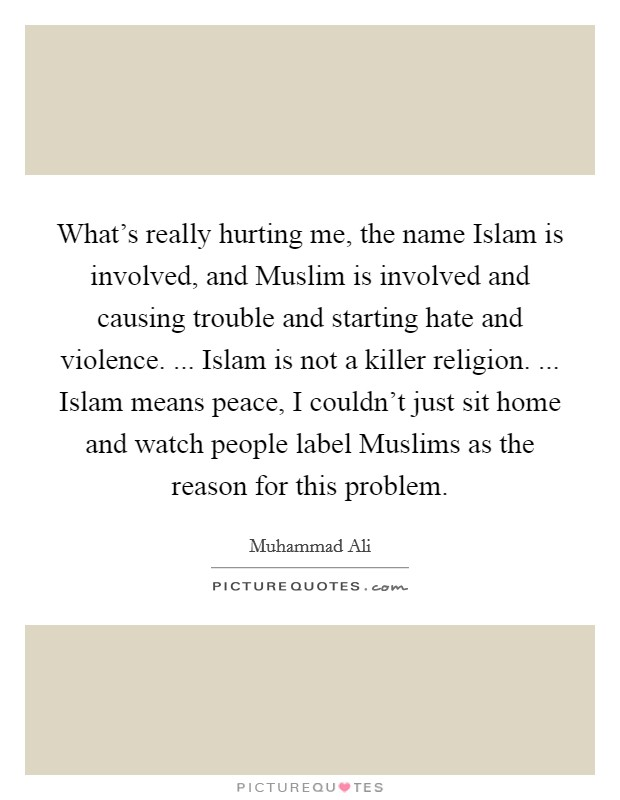 What's really hurting me, the name Islam is involved, and Muslim is involved and causing trouble and starting hate and violence. ... Islam is not a killer religion. ... Islam means peace, I couldn't just sit home and watch people label Muslims as the reason for this problem Picture Quote #1