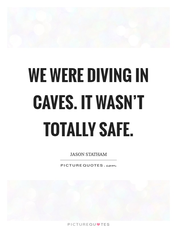 We were diving in caves. It wasn't totally safe Picture Quote #1