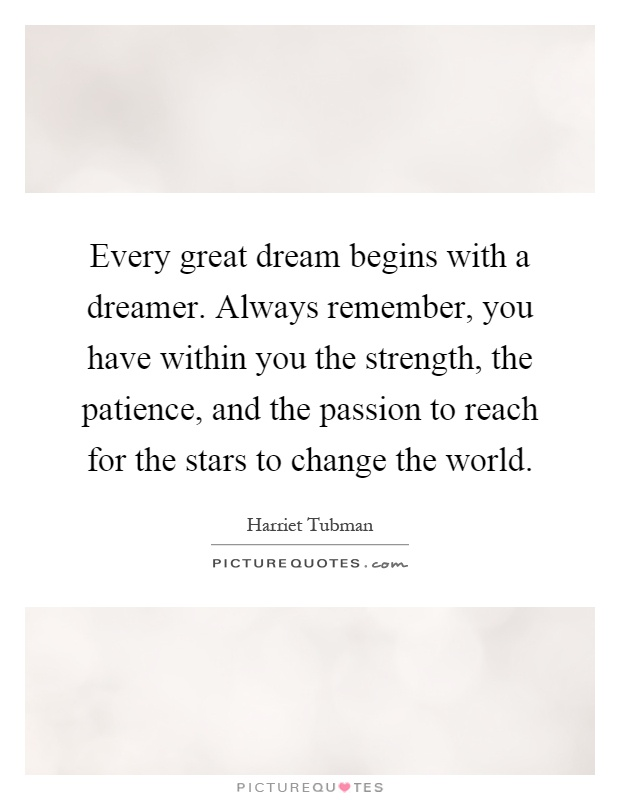 Every great dream begins with a dreamer. Always remember, you have within you the strength, the patience, and the passion to reach for the stars to change the world Picture Quote #1