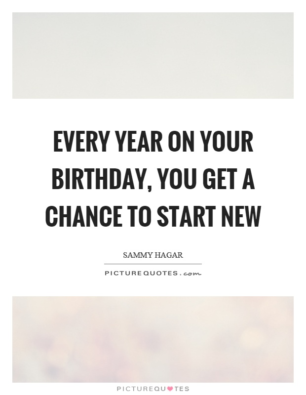 every year on your birthday you get a chance to start new picture quote