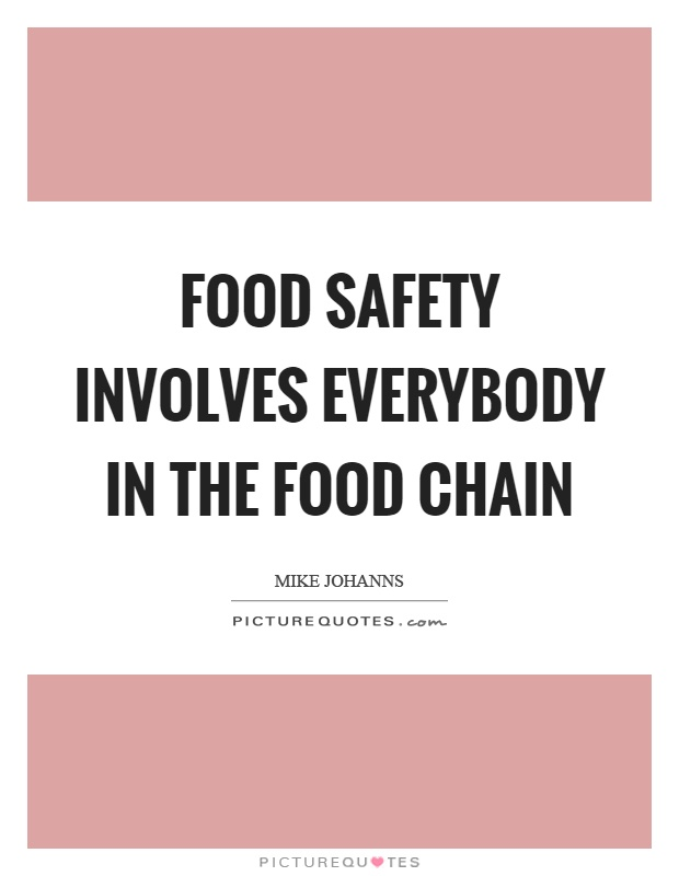 Food safety involves everybody in the food chain Picture Quote #1