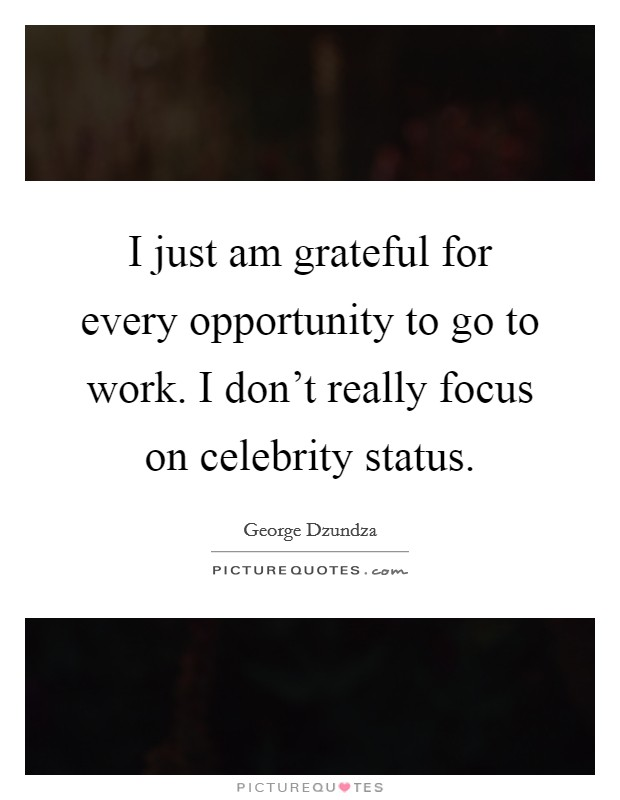 I just am grateful for every opportunity to go to work. I don't really focus on celebrity status Picture Quote #1
