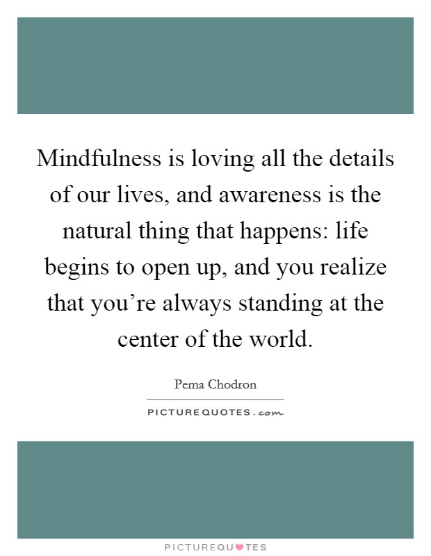 Mindfulness is loving all the details of our lives, and awareness is the natural thing that happens: life begins to open up, and you realize that you're always standing at the center of the world Picture Quote #1