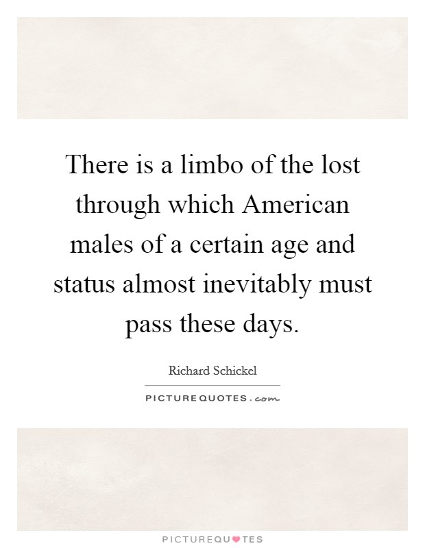 There is a limbo of the lost through which American males of a certain age and status almost inevitably must pass these days Picture Quote #1