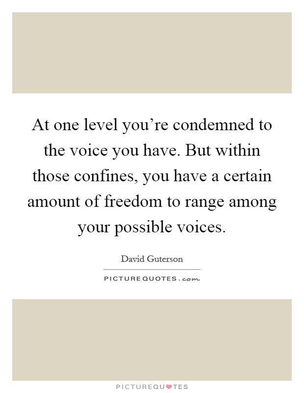 At one level you're condemned to the voice you have. But within those confines, you have a certain amount of freedom to range among your possible voices Picture Quote #1