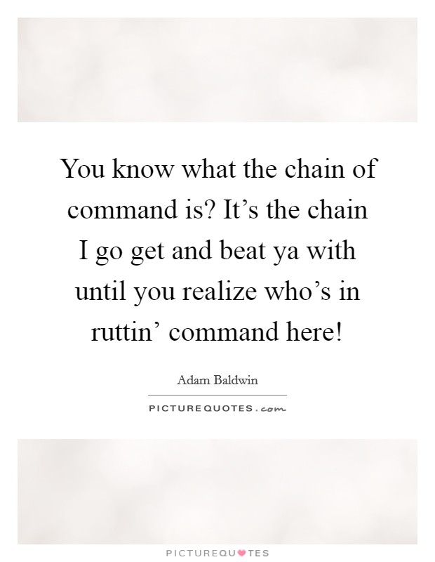You know what the chain of command is? It's the chain I go get and beat ya with until you realize who's in ruttin' command here! Picture Quote #1