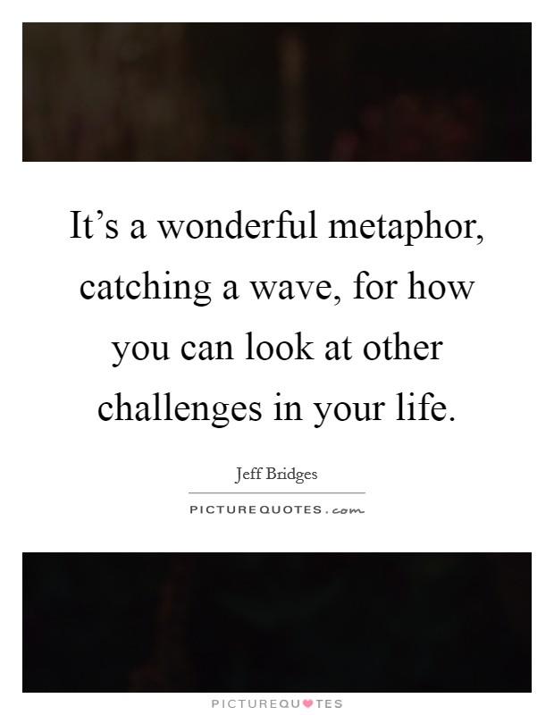 It's a wonderful metaphor, catching a wave, for how you can look at other challenges in your life Picture Quote #1