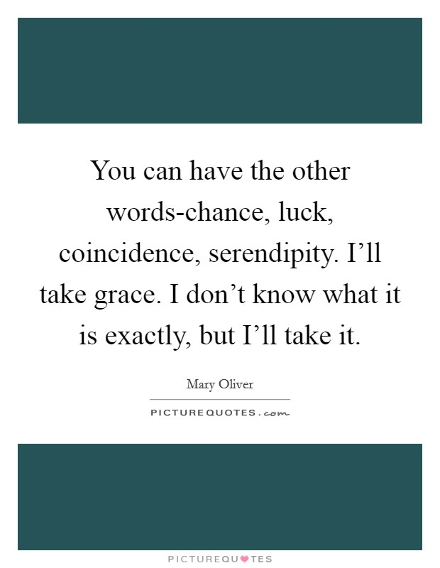 You can have the other words-chance, luck, coincidence, serendipity. I'll take grace. I don't know what it is exactly, but I'll take it Picture Quote #1