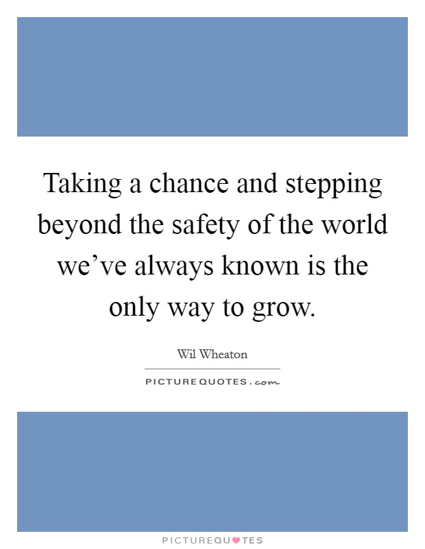 Taking a chance and stepping beyond the safety of the world we've always known is the only way to grow Picture Quote #1