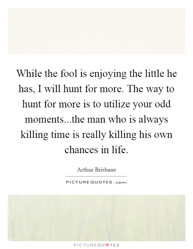 While the fool is enjoying the little he has, I will hunt for more. The way to hunt for more is to utilize your odd moments...the man who is always killing time is really killing his own chances in life Picture Quote #1
