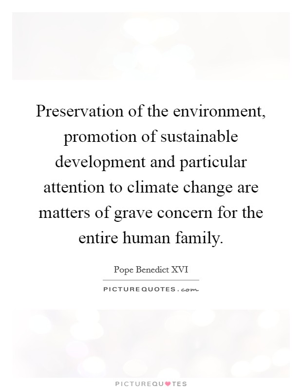 Preservation of the environment, promotion of sustainable development and particular attention to climate change are matters of grave concern for the entire human family Picture Quote #1