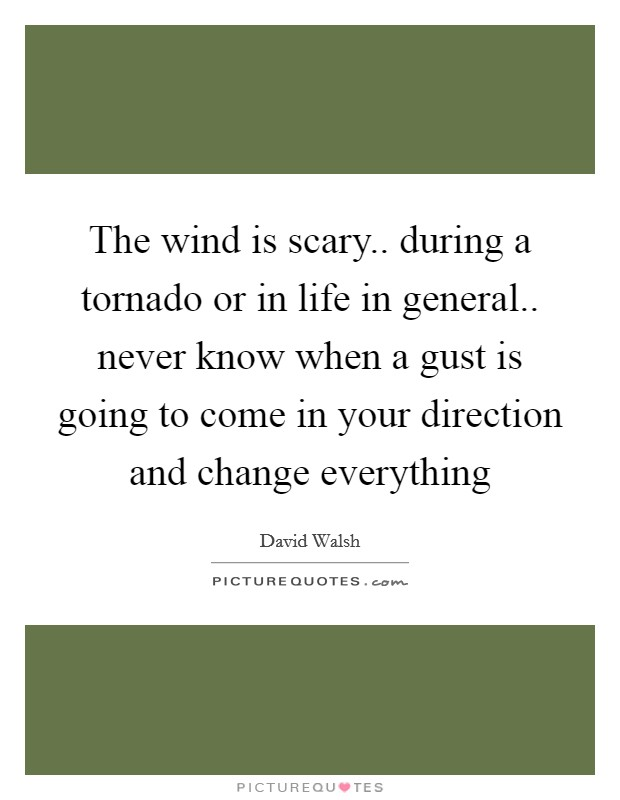 The wind is scary.. during a tornado or in life in general.. never know when a gust is going to come in your direction and change everything Picture Quote #1